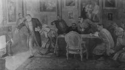 Граф Франциск Ксаверий Браницкий сжигает официальные документы на владения землей белоцерковских мещан.